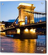The Chain Bridge In Budapest Lit By The Street Lights Acrylic Print
