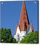 The Chuch Tower- Silute- Lithuania Acrylic Print