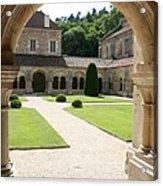 The Cloister Courtyard - Cloister Fontenay Acrylic Print