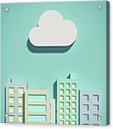 The Cloud Network And Office Buildings Acrylic Print
