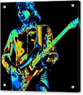 The Colorful Sound Of Mick Playing Guitar Acrylic Print