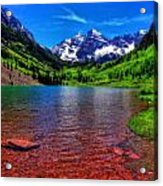The Colors Of Maroon Bells In Summer Acrylic Print