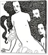 The Comedy Of The Rhinegold Acrylic Print by Aubrey Beardsley