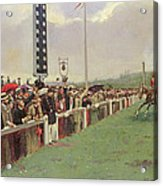 The Course At Longchamps Acrylic Print by Jean Beraud