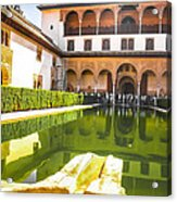The Court Of The Myrtles And Comares Tower In Alhambra Acrylic Print
