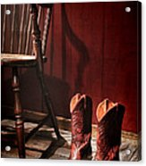 The Cowgirl Boots And The Old Chair Acrylic Print