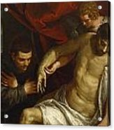 The Dead Christ Supported By An Angel And Adored By A Franciscan Acrylic Print