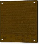 The Declaration Of Independence In Brown Acrylic Print