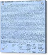 The Declaration Of Independence In Cyan Acrylic Print