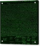 The Declaration Of Independence In Negative Green Acrylic Print by Rob Hans