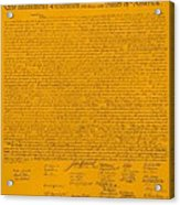 The Declaration Of Independence In Orange Acrylic Print