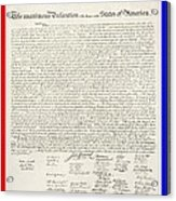 The Declaration Of Independence In Red White And Blue Acrylic Print by Rob Hans
