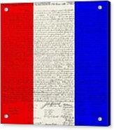 The Declaration Of Independence In Red White Blue Acrylic Print by Rob Hans