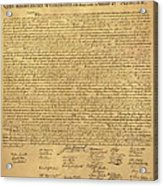 The Declaration Of Independence In Sepia Acrylic Print