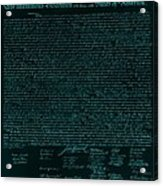 The Declaration Of Independence In Turquoise Acrylic Print
