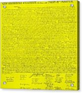 The Declaration Of Independence In Yellow Acrylic Print