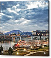 The Delta Queen And Coolidge Park At Dusk Acrylic Print by Steven Llorca