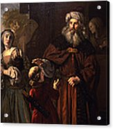 The Dismissal Of Hagar, 1650 Acrylic Print by Jan Victors