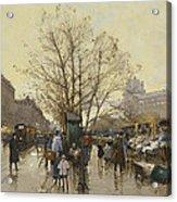 The Docks Of Paris Les Quais A Paris Acrylic Print by Eugene Galien-Laloue