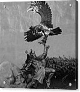 The Eagle And The Indian In Black And White Acrylic Print