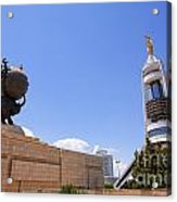 The Earthquake Memorial Statue And The Arch Of Neutrality In Ashgabat Turkmenistan Acrylic Print