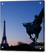The Eiffel Tower And Joan Of Arc Statue  At Sunrise Acrylic Print