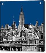 The Empire State Building Pantone Blue Acrylic Print by John Farnan