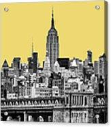The Empire State Building Pantone Lemon Acrylic Print by John Farnan