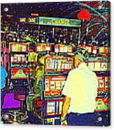 The Gambler Meets The One Armed Bandit In Casino Royale Standoff At High Noon Urban Casino Art Scene Acrylic Print