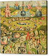 The Garden Of Earthly Delights Allegory Of Luxury, Central Panel Of Triptych, C.1500 Oil On Panel Acrylic Print