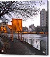 The Gates - Central Park New York - Harlem Meer Acrylic Print by Gary Heller