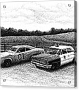 The General Lee And Barney Fife's Police Car Acrylic Print by Janet King