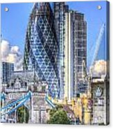 The Gherkin And Tower Bridge Acrylic Print