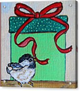 The Gift - Christmas Chickadee Whimsical Painting By Ella Acrylic Print