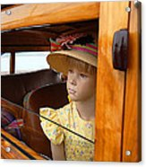 The Girl The Hat The Woodie Acrylic Print by Ron Regalado