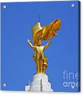The Golden Niyazov Statue On Top Of The Arch Of Neutrality In Ashgabat Turkmenistan Acrylic Print