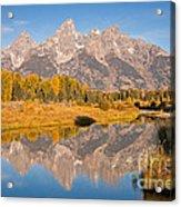 The Grand Tetons At Schwabacher Landing Grand Teton National Park Acrylic Print