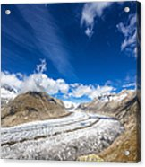 The Great Aletsch Glacier And Deep Blue Sky Acrylic Print