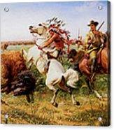The Great Royal Buffalo Hunt Acrylic Print by Louis Maurer