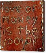Handmade Wallet For The Love Of Money From New Orleans Louisiana  Acrylic Print
