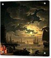 The Harbor Of Palermo Acrylic Print by Claude Joseph Vernet
