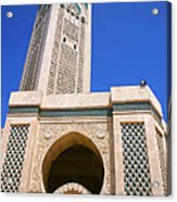 The Hassan II Mosque Grand Mosque with the Worlds Tallest 210m Minaret Sour Jdid Casablanca Morocco Acrylic Print