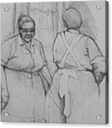 The Help - Housekeepers Of Soniat House Sketch Acrylic Print by Jani Freimann