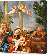The Holy Family With St. Elizabeth And St. John The Baptist, C.1645-50 Oil On Copper Acrylic Print