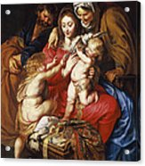 The Holy Family With St Elizabeth St John And A Dove Acrylic Print