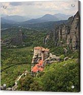 The Holy Monastery Of Rousanou Meteora Greece  Acrylic Print