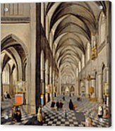 The Interior Of A Gothic Church Acrylic Print by Hendrik the Younger Steenwyck