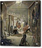 The Interior Of A Hut Of A Mandan Chief Acrylic Print by Karl Bodmer