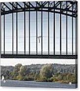 The Iron Railway Bridge Over The Rhine At Arnhem Netherlands Acrylic Print