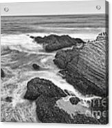 The Jagged Rocks And Cliffs Of Montana De Oro State Park In California In Black And White Acrylic Print